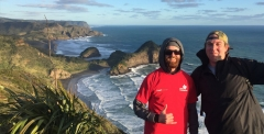 Bevan Ellis and his friend at Piha