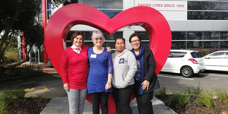 Pacific Heartbeat Nutritionist Sue Pirrit; Professor Elaine Rush; Flo; Pacific Heartbeat Nutrition Trainer, Takui Langi