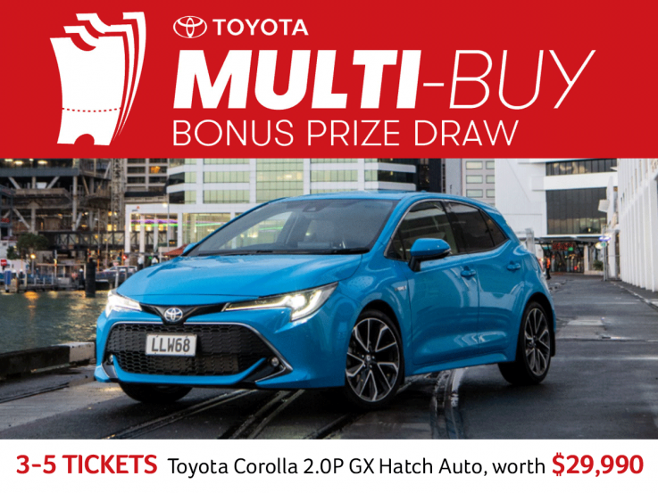 Heart Foundation Lottery Multi buy bonus prize draw. 3-5 tickets. Toyota corolla 2.0p GX Hatch auto worth $29,990
