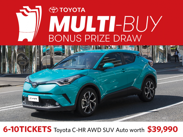 Buy 6-10 tickets in the same Heart Foundation Lottery in the same name and be in to win a Toyota C-HR worth $39,990