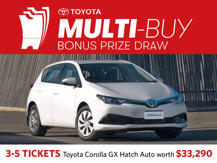 Buy 3-5 tickets in the same Heart Foundation Lottery in the same name and be in to win a Toyota Corolla worth $33,290