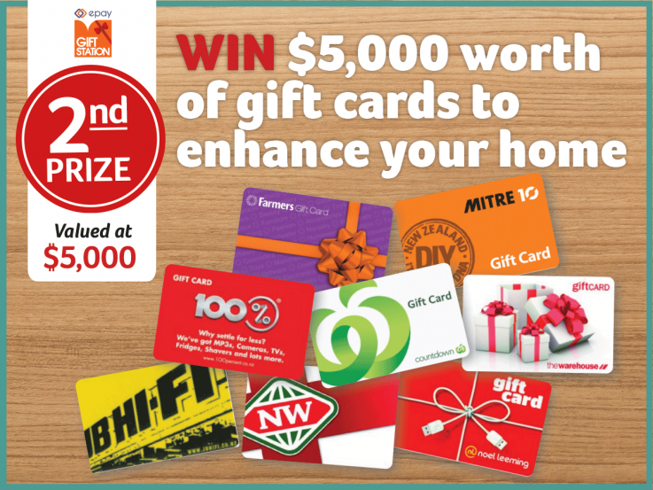 2nd prize - Win $5000 worth of gift cards to enhance your home