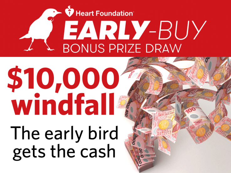 Win $10,000 in the Heart Foundation Lottery Early-Buy draw