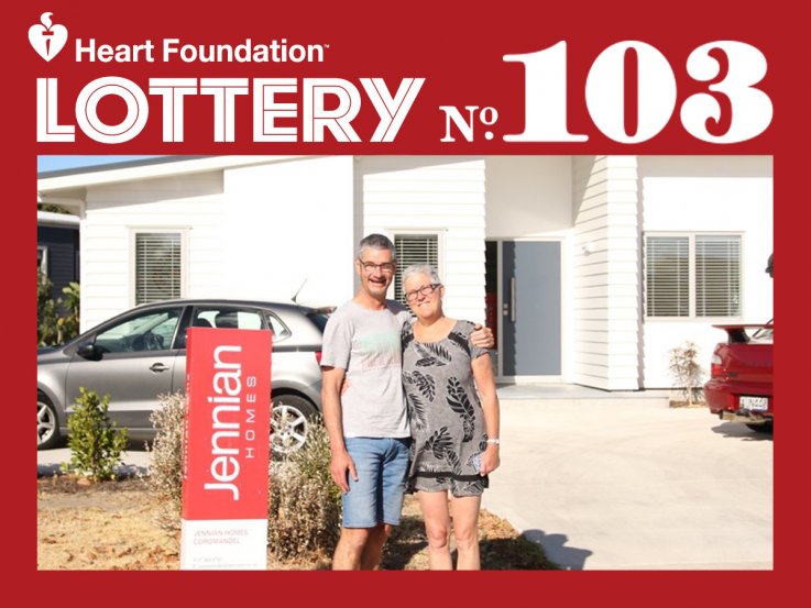 Lottery No. 103 Pauanui first prize winners Sue Bielby & Ricky Rutledge