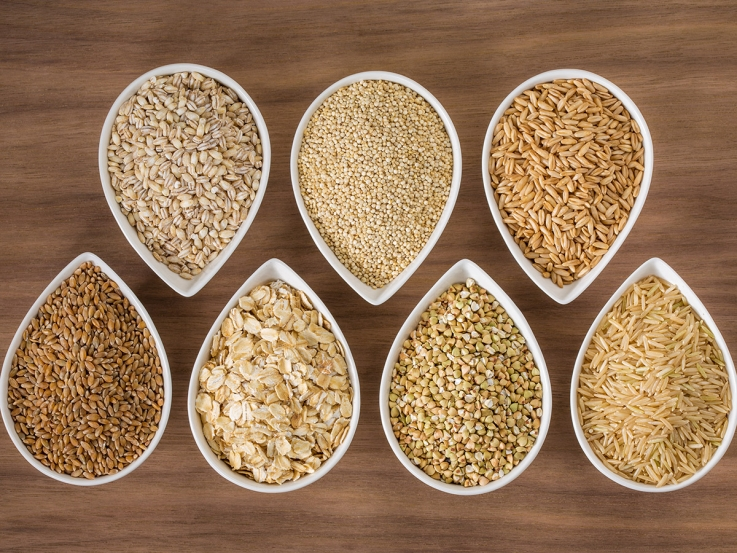 Whole grains in bowls on a table