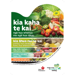 Our healthy heart poster in Te Reo shows the proportion of foods to eat as part of a heart healthy diet.