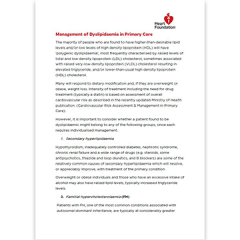 Guidance document on management of Dyslipidaemia in Primary Care